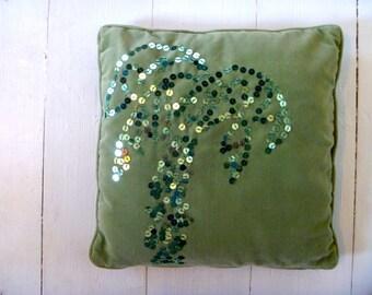 Palm Cushion.  Jungle love vintage green velvet cushion, hand embroidered sparkle sequin palm.  35x35cm cushion includes insert.