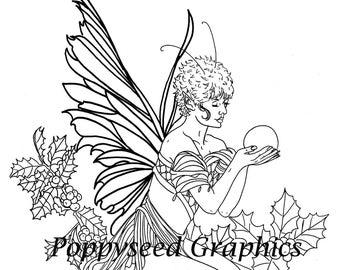 Fairy of December digital stamp by Leanne Seed