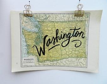 Washington Vintage State Map