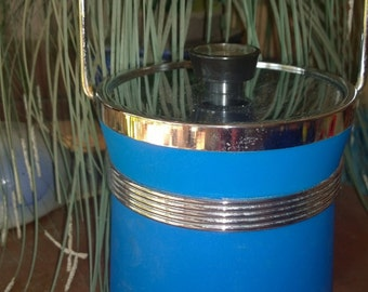 Blue Stainless Steel Ice Bucket - Vintage Item