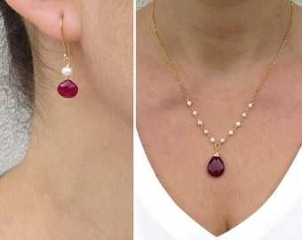 Summer SALE - Red jade pendant, Pearl jewelry set, Natural ruby earrings