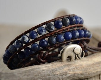 Rustic midnight blue leather wrap bracelet.  Bohemian bracelet