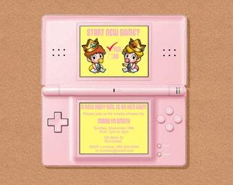 DIY Printable Video Game Princess Shower Party Invitation, Video Game Party, Gamer Birthday Party, Video Game Birthday, Customizable Invite