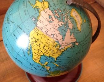 Late 1920's petite tin globe