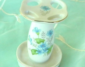End of Summer Sale Blue Flowered Porcelain Toothbrush Holder, Vintage Item, Made in Japan, Bathroom Vanity, Shabby Chic