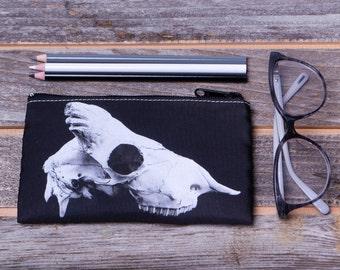 Sheep Skull Profile Zippered Makeup or Pencil Bag