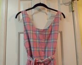 Women's Vintage Pink Yellow Blue and Green Plaid Jumpsuit Romper Beach Cotton Cover-up Summer Fashion