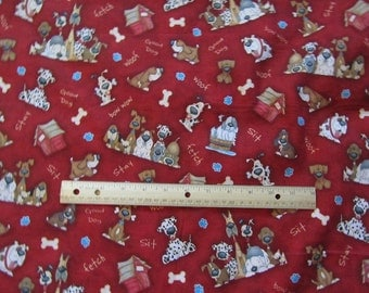 Red with Multicolor Dogs Cotton Fabric by the Yard