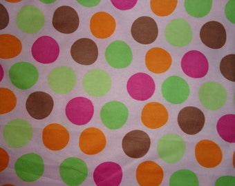 Pink with Multicolor Big Polka Dots Flannel Fabric by the Yard