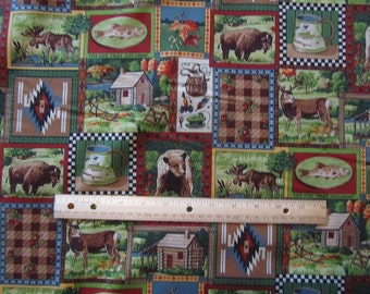 Multicolor Cabin/Lodge/Camping/Woodland Blocked Cotton Fabric by the Yard