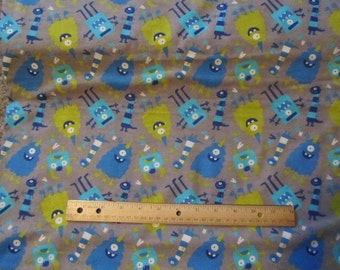 Gray with Blue and Neon Green Monster Flannel Fabric by the Yard