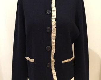 J Crew Navy Blue Wool Ruffled Cardigan Sweater Jacket