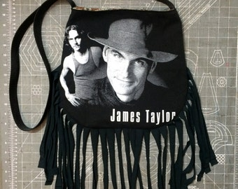 JAMES TAYLOR - Upcycled Rock T-Shirt Fringe Purse - ooaK