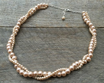 Pink Champagne Pearl Bridal Necklace, Wedding Necklace, Twisted Pearl Necklace, Simple Necklace on Silver or Gold Chain