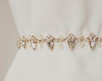 Beads Pearl and Gold Rhinestone Bridal Sash, Crystal Wedding Sash Belt, Rhinestone Belt, Bridal Sash Belt, Skinny Bridal Belt, Style B016