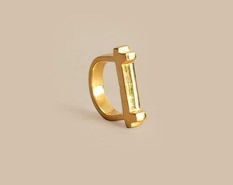 Gold Cross Top Ring