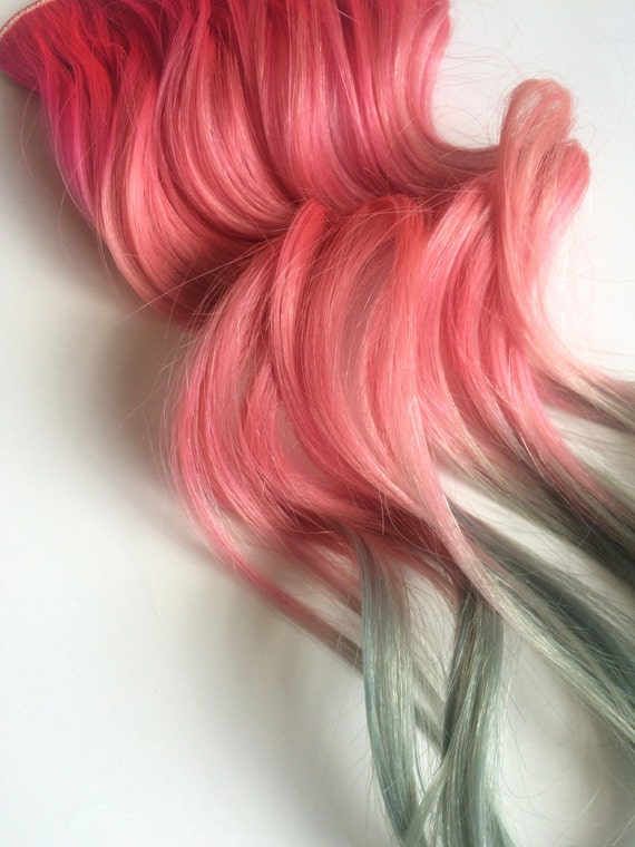 Rose Gold Pastel Color Melt Hot Pink Pastel Teal Human Hair