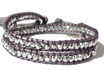 Leather wrap bracelet, silver crystal, double grey leather bracelet, boho chic bracelet, silver and grey bracelet, grey and purple