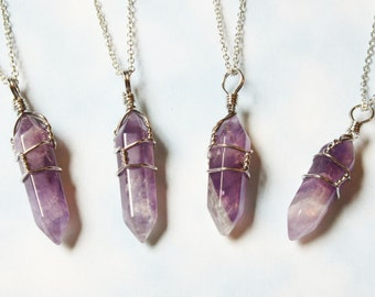 Amethyst Crystal Quartz Necklace, Pastel Goth, Soft Grunge  Crystal Point Chain Necklace, Healing Chakra Pendant Necklace