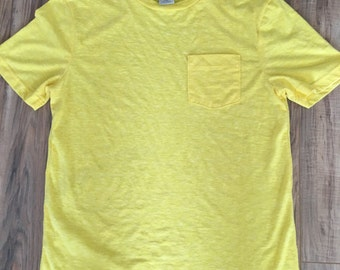 Mems vintage super thin yellow hang ten tshirt