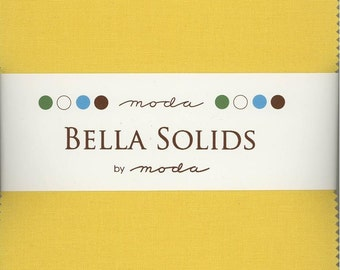 Bella Solids Buttercup Charm Pack, Set of 42 5-inch Precut Cotton Fabric Squares (9900PP-51)
