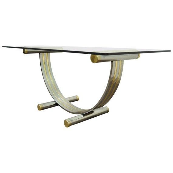 Mid Century Glass Table Italian Designer Romeo Rega Brass