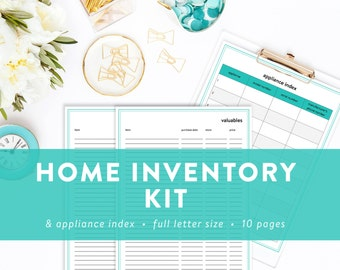 Home Inventory Kit - House Inventory Pages - Appliance Index - INSTANT DOWNLOAD