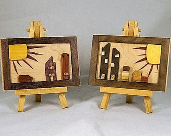 Wood Art / Modern Primitives / Reclaimed Wood  / Miniature  3D Wood Pictures / Childs Room Decor / ON SALE ORIG. 40.00