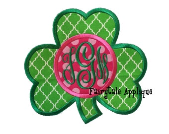 Digital Machine Embroidery Design -  St. Patrick's Day Clover with Monogram Applique