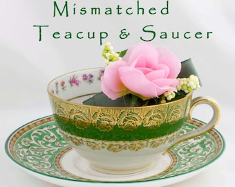 Mismatched Green Gold and White Floral Teacup & Saucer Wedgwood China Cico Tea Cup Ornate China Tea Party Decor Green Floral China