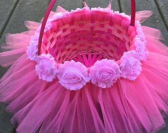 Pink Tutu Easter Basket, Pink Tulle Basket, Flower Girl Tutu Basket, Flower Girl Basket, Wedding Basket, Easter Tutu Basket, Girls Basket