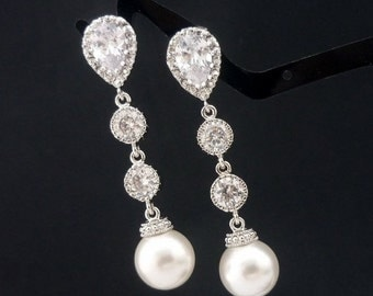 SALE Wedding Jewelry Bridesmaid Gift Bridal Earrings Bridesmaid Jewelry White OR Cream Swarovski Round Pearl Drop Earrings Cubic Zirconia