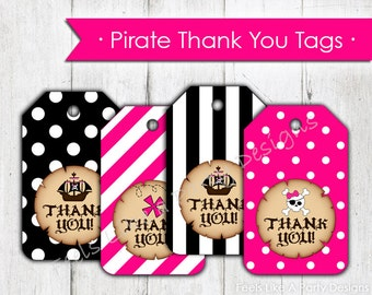 Pink Pirate Thank You Tags- Instant Download
