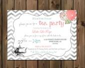 Tea Party Bridal Shower Shabby Chic Invitation, Chevron Digital File,  PRINTABLE_1174