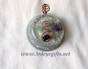 Divine Abundance, Orgone Pendant, Orgonite Pendant,Attract Money, Jade Pendant, Amethyst for Abundance, Hemitite, Money Amulet (677)
