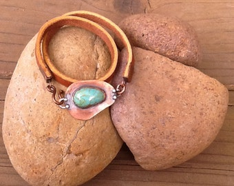 Turquoise and Copper Leather Wrap Bracelet