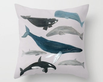 Whale Outdoor Throw Pillow Cover, outdoor throw pillow, nautical pillow, whale throw pillow, whale outdoor, whale cushion cover