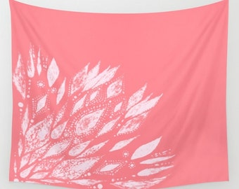 Pink Flower Wall Tapestry, pink wall tapestry, flower wall tapestry, pink wall hanging, modern wall hanging, bright pink tapestry