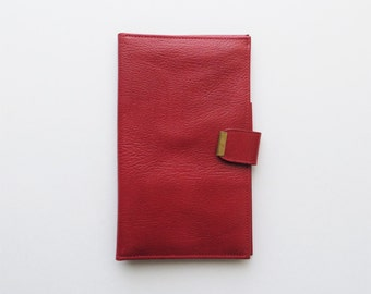 80s Red Leather Day Timer Checkbook Cover Wallet