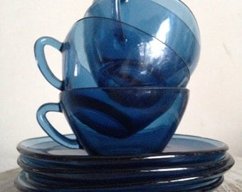 Set of tea cups- blue glass cups- retro serving tea and coffee