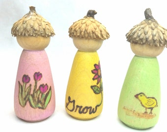 Spring Themed Peg Dolls // Wooden Waldorf Season Dolls // Spring Pastel Peg Dolls // Spring Nature Table // Natural Toy // Easter Doll gift