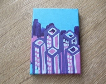 "Abstract Cityscape - Small Painting - 5"" x 7"""