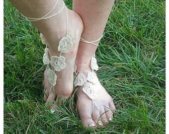 Cream Flowers Crocheted Barefoot Sandals