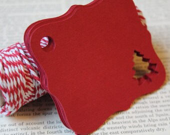 Christmas Tree, Christmas Gift Tags, Red, Gift Tags, Paper Tags, Holiday Gift Tags