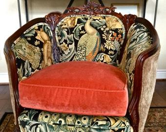 Antique Louis XV Barrel Back Chair Reimagined ~ William Morris of London Fabric