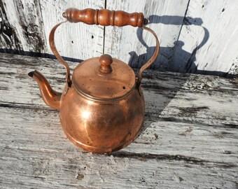 Antique Vintage Metal Copper Plated Kettle Tea Pot Pitcher Wood Stove