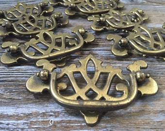 "8 Vintage Pulls, 2 Sizes Dresser Drawer Brass Handles-3"" Centers-Chippendale  DIY, Mixed Media, Restoration, Renovation Projects"