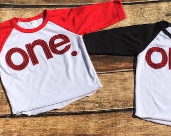 Buffalo Check//one// First Birthday Shirt//Lumberjack Birthday//Ready To Ship//NEW Matching Banner