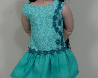 Turquoise Dress for AGAT and Very Slim 18-inch Doll Hand-crafted BFC, Ink