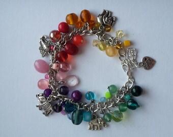 Rainbow elephant charm bracelet